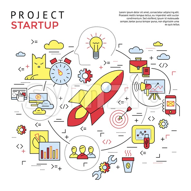 Digital vector yellow and red startup business icons with drawn simple line art info graphic, presentation with project and team ...