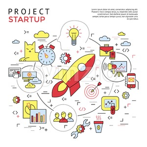 Digital vector yellow and red startup business icons with drawn simple line art info graphic, presentation with project and team elements around promo Stock Vector