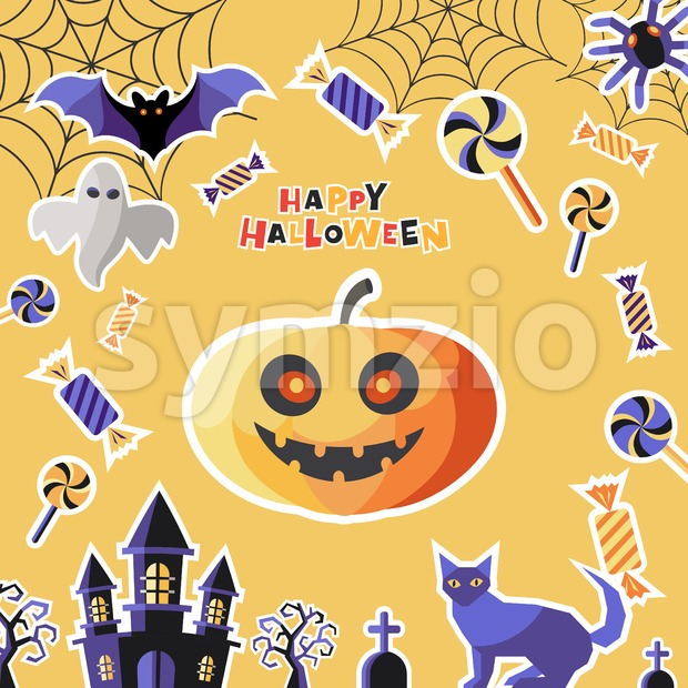 Digital vector yellow purple happy halloween icons with drawn simple line art info graphic, presentation with bats, cat and pumpkin ...