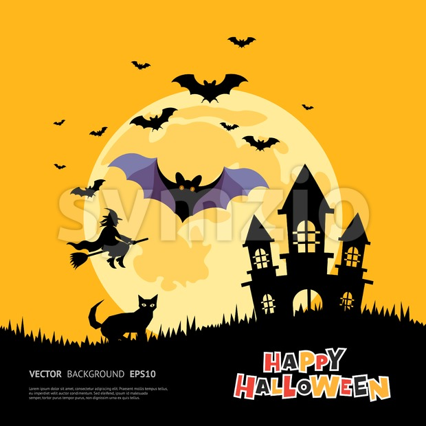 Digital vector yellow purple happy halloween icons with drawn simple line art info graphic, presentation with bats big moon, cat ...