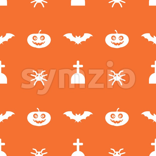 Digital vector orange happy halloween icons with drawn simple line art info graphic, seamless pattern, presentation with bats, cat and pumpkin Stock Vector