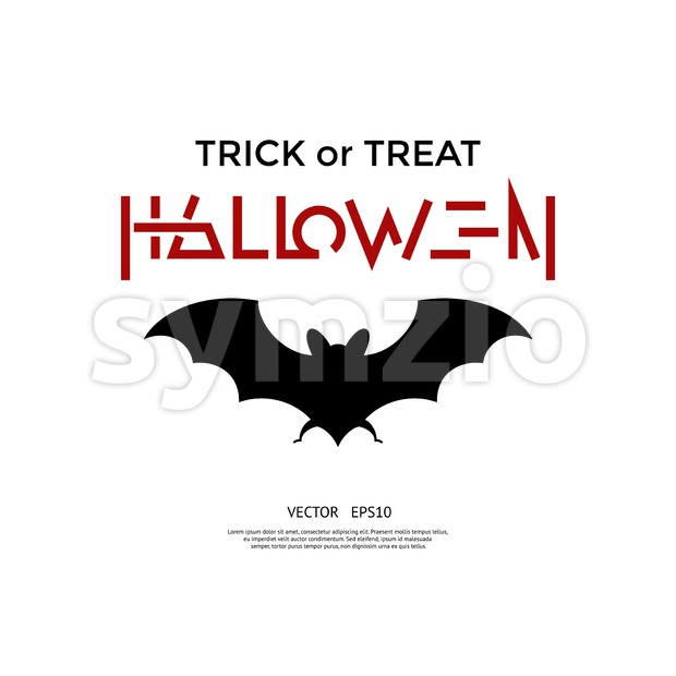 Digital vector red black happy halloween icons with drawn simple line art info graphic, presentation with bat promo template, trick ...