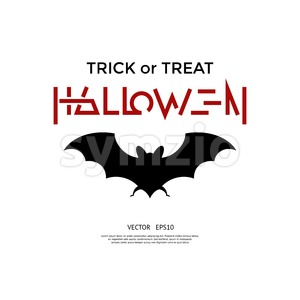 Digital vector red black happy halloween icons with drawn simple line art info graphic, presentation with bat promo template, trick or treat, flat Stock Vector