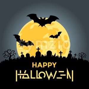 Digital vector yellow black happy halloween icons with drawn simple line art info graphic, presentation with bats, moon and cemetery elements around Stock Vector