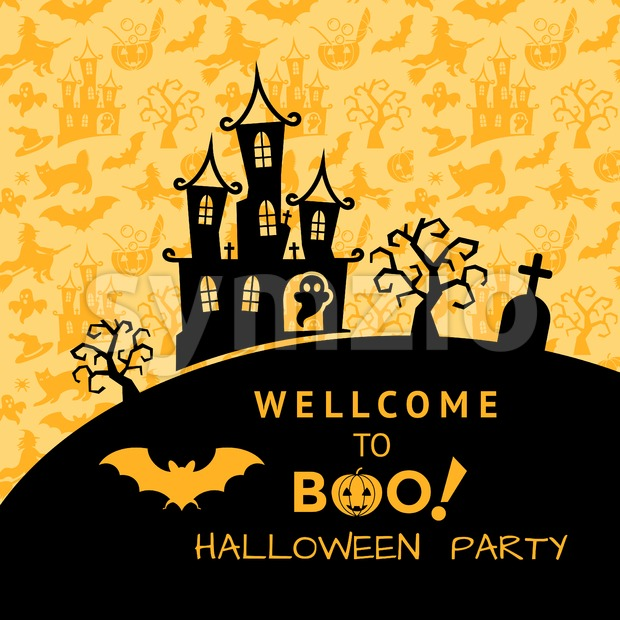 Digital vector yellow black happy halloween icons with drawn simple line art info graphic, presentation with bats, cat and pumpkin cemetery elements Stock Vector