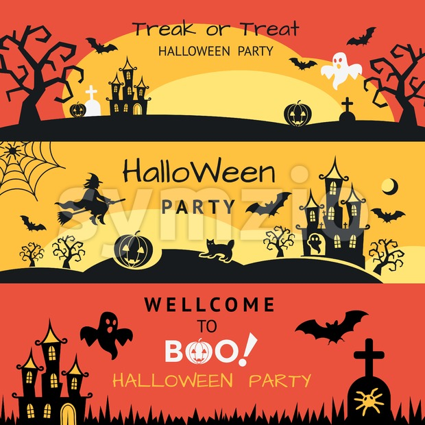 Digital vector yellow red black happy halloween icons with drawn simple line art info graphic, presentation with bats, cat and pumpkin elements around Stock Vector