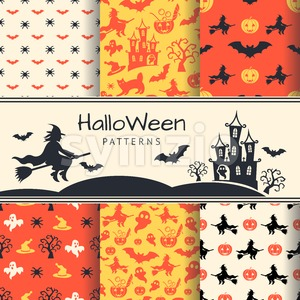 Digital vector yellow red black happy halloween icons with drawn simple line art info graphic, presentation with bats pattern, cat and pumpkin Stock Vector