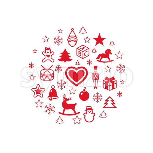 Digital vector red happy new year icons with drawn simple line art info graphic, presentation with toys and gifts elements around promo template, flat Stock Vector