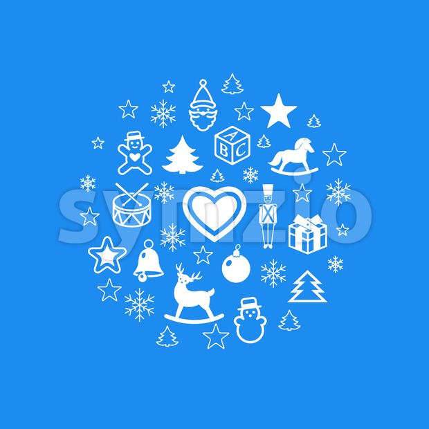 Digital vector blue happy new year icons with drawn simple line art info graphic, presentation with toys and gifts elements around promo template, Stock Vector