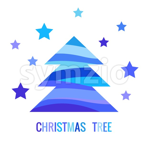 Digital vector blue happy new year merry christmas icon with drawn simple line art, fir tree with stars promo template, flat style Stock Vector