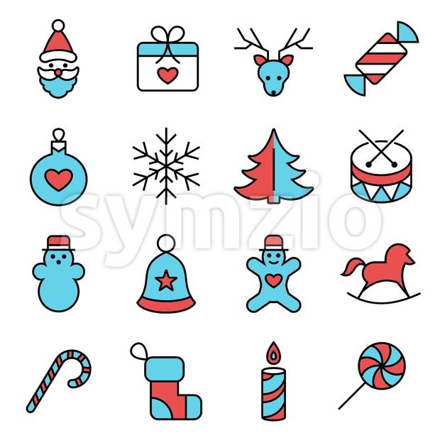Digital vector red blue happy new year icons with drawn simple line art info graphic, presentation with toys and gifts elements around promo template, Stock Vector