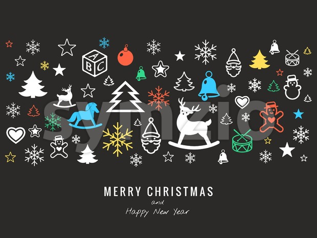 Digital vector dark happy new year icons with drawn simple line art info graphic, presentation with toys and gifts elements ...