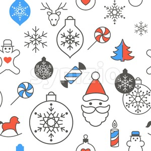 Digital vector red blue happy new year merry christmas icons with drawn simple line art info graphic, seamless pattern, presentation with toys and Stock Vector