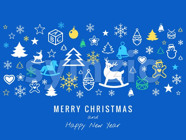 Digital vector blue happy new year merry christmas icons with drawn simple line art info graphic, presentation with toys and ...