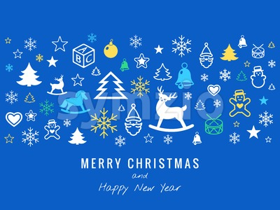 Digital vector blue happy new year merry christmas icons with drawn simple line art info graphic, presentation with toys and gifts elements around Stock Vector