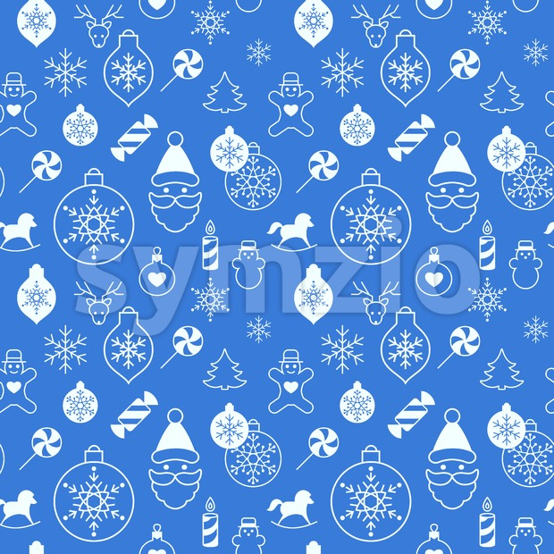 Digital vector white blue happy new year merry christmas icons with drawn simple line art info graphic, seamless pattern, presentation ...