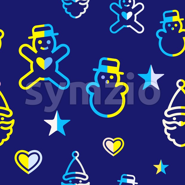 Digital vector yellow blue happy new year merry christmas icons with drawn simple line art info graphic, seamless pattern, presentation with toys and Stock Vector