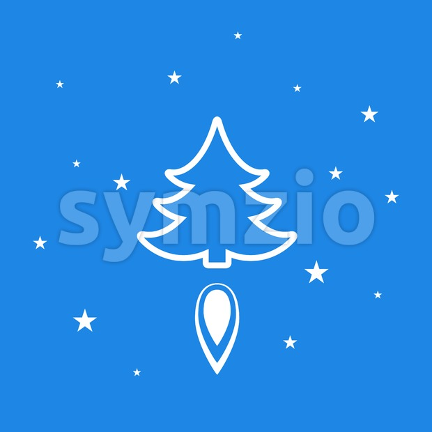 Digital vector blue happy new year merry christmas icon with drawn simple line art, fir tree with fire spark and ...