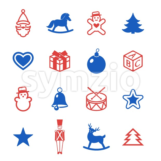 Digital vector red blue happy new year merry christmas icons with drawn simple line art info graphic, presentation with toys and gifts elements around Stock Vector
