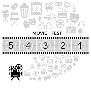 Digital vector black cinema icons with drawn simple line art info graphic, presentation with screen, movie fest and old camera elements around promo Stock Vector