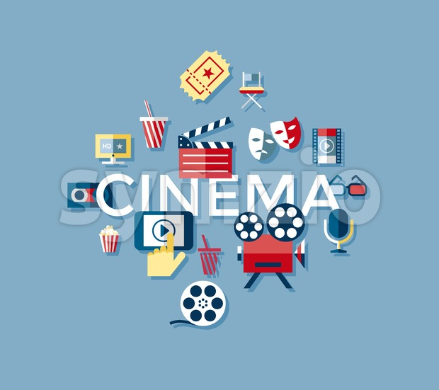 Digital vector blue cinema icons with drawn simple line art info graphic, presentation with screen, movie and old camera elements ...