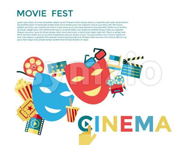 Digital vector blue cinema icons with drawn simple line art info graphic, presentation with movie fest, fun and mask elements ...