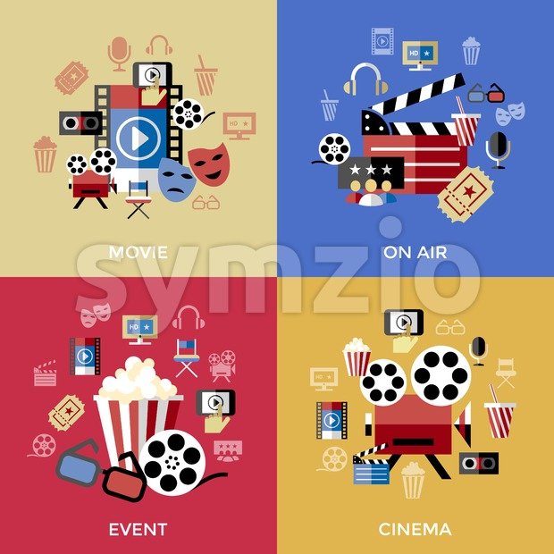 Digital vector red blue cinema icons with drawn simple line art info graphic, presentation with screen, movie and film elements around promo template, Stock Vector