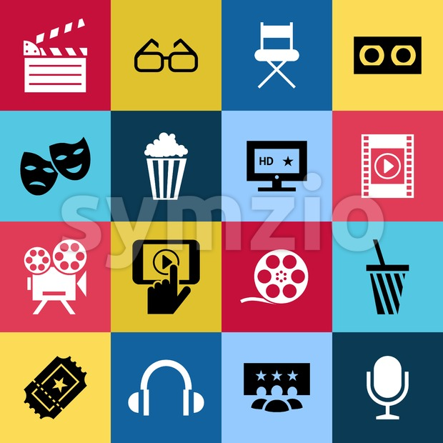 Digital vector red blue 16 cinema icons with drawn simple line art info graphic, presentation with screen, movie and film elements around promo Stock Vector