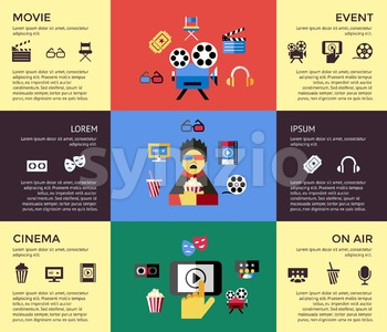 Digital vector red blue cinema icons with drawn simple line art info graphic, presentation with screen, movie and spectator elements around promo Stock Vector