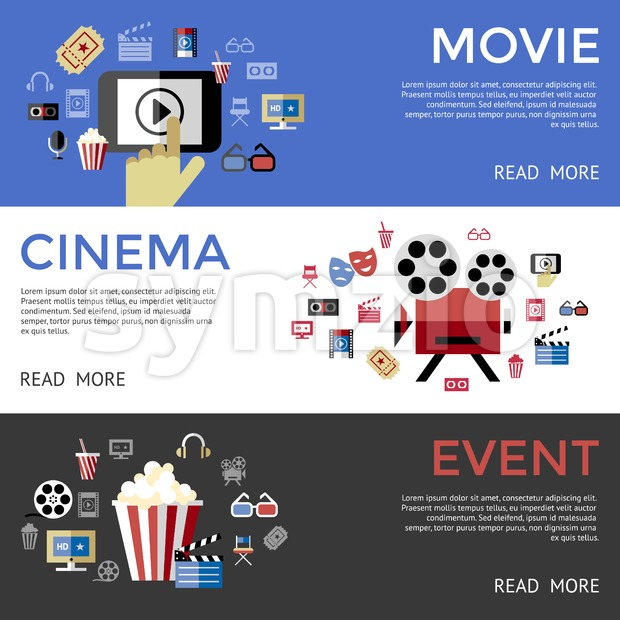 Digital vector black blue cinema icons with drawn simple line art info graphic, presentation with screen, movie and mobile phone elements around promo Stock Vector