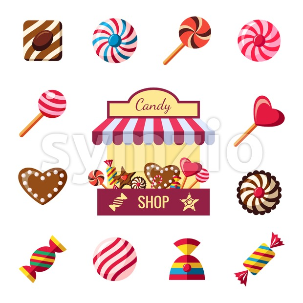 Digital vector red brown sweet candies icons with drawn simple line art info graphic, presentation with shop, sweety, chocolate and cookies elements Stock Vector