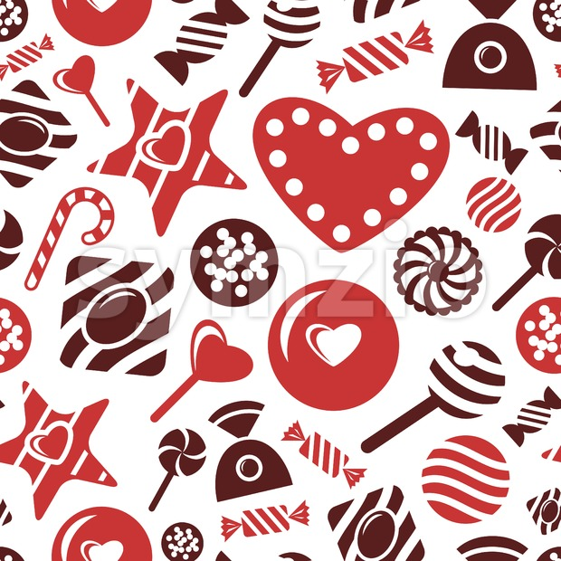 Digital vector red brown sweet candies icons with drawn simple line art info graphic, presentation with sweety, seamless pattern, chocolate and Stock Vector