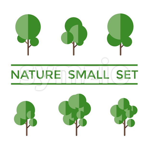 Digital vectorgreen nature small icons with drawn simple line art info graphic, presentation with round tree elements around promo template, flat Stock Vector