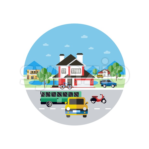 Digital vector blue city transport icons with drawn simple line art info graphic, presentation with car, bus and building elements around promo Stock Vector