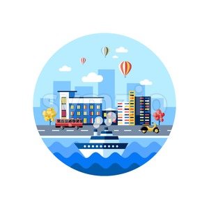 Digital vector blue city transport icons with drawn simple line art info graphic, presentation with car, boat and building elements around promo Stock Vector