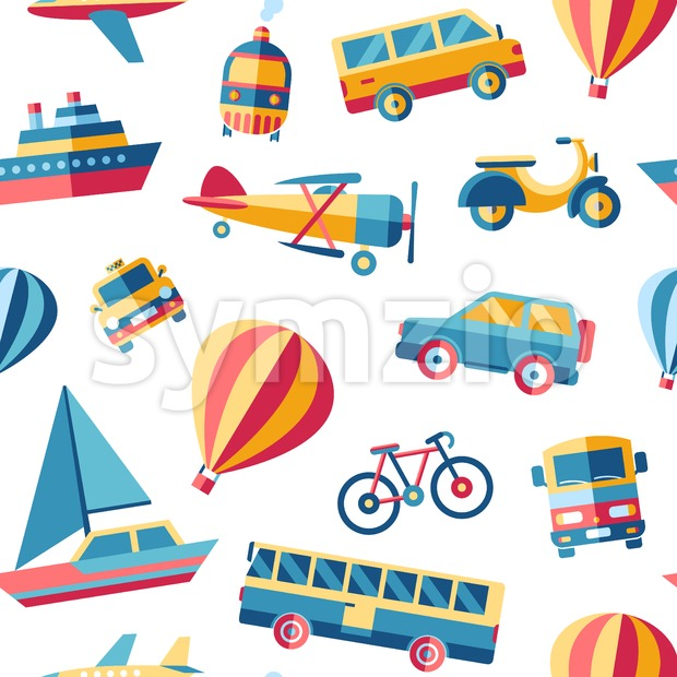 Digital vector blue red yellow city transport icons set with drawn simple line art info graphic, seamless pattern, presentation with ...