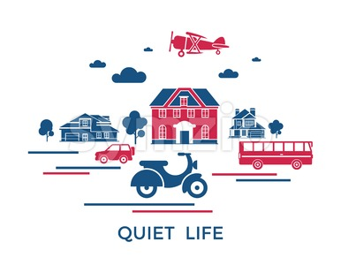Digital vector blue red city transport icons with drawn simple line art info graphic, presentation with motorcycle, bus and building elements around Stock Vector