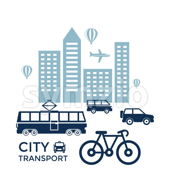 Digital vector blue city transport icons with drawn simple line art info graphic, presentation with car, tram and building elements around promo Stock Vector