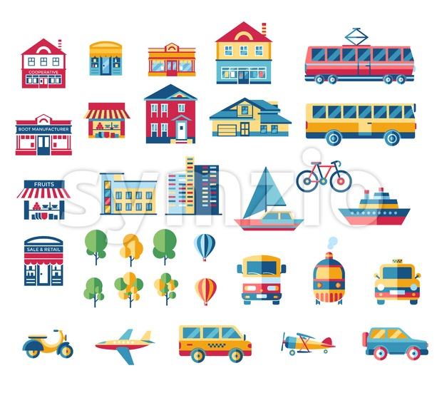 Digital vector blue red city transport icons set with drawn simple line art info graphic, presentation with car, plane and building elements around Stock Vector