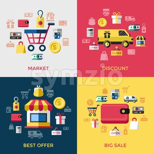 Digital vector yellow red shopping sale icons with drawn simple line art info graphic, presentation with money, commerce and economy elements around Stock Vector