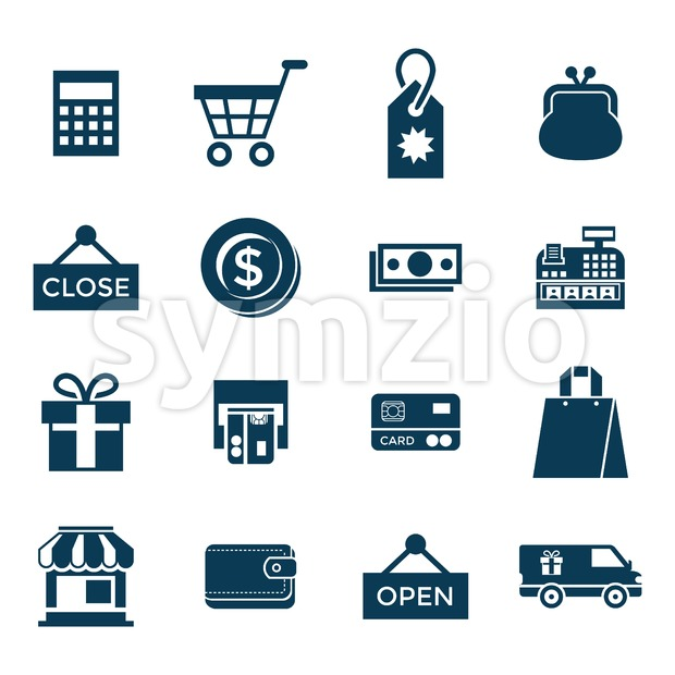 Digital vector blue shopping sale icons with drawn simple line art info graphic, presentation with money, commerce and economy elements around promo Stock Vector