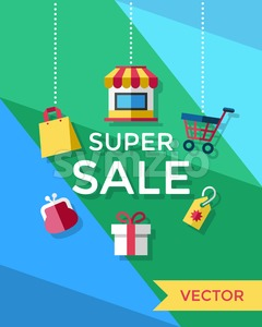 Digital vector yellow blue green shopping super sale icons with drawn simple line art info graphic, presentation with money, shop and gift elements Stock Vector