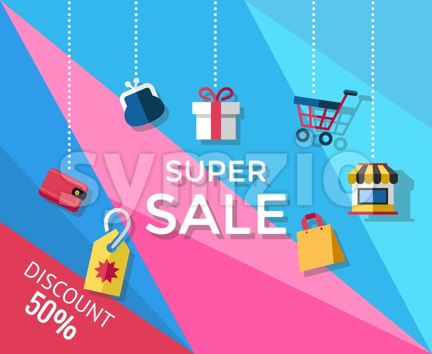 Digital vector yellow blue pink shopping super sale icons with drawn simple line art info graphic, presentation with money, shop and card elements Stock Vector