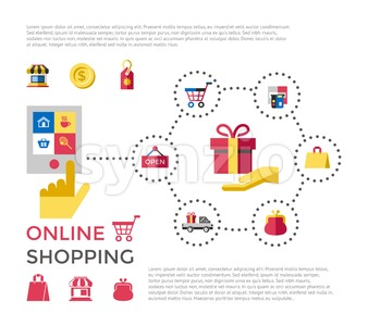 Digital vector white online shopping icons with drawn simple line art info graphic, presentation with money, commerce and economy elements around Stock Vector