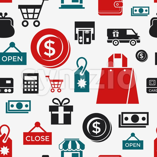 Digital vector white black shopping sale icons with drawn simple line art info graphic, seamless pattern, presentation with money, commerce and Stock Vector