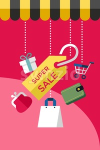 Digital vector red super sale shopping icons with drawn simple line art info graphic, presentation with money, commerce and economy elements around Stock Vector