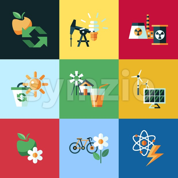 Digital vector red ecology icons with drawn simple line art info graphic, presentation with recycle, production and alternative energy elements around Stock Vector