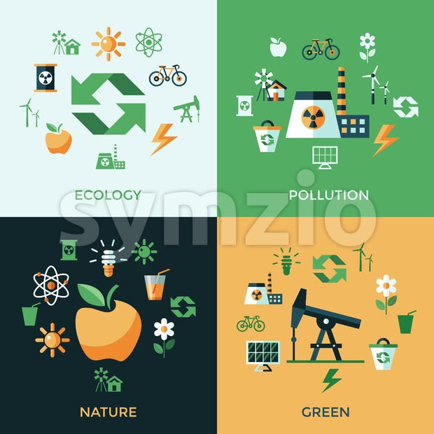 Digital vector green ecology icons with drawn simple line art info graphic, presentation with recycle, production and alternative energy elements Stock Vector