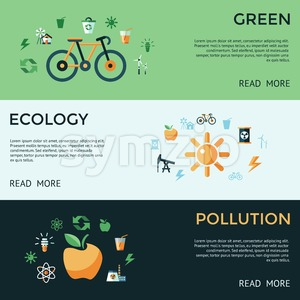 Digital vector green ecology icons with drawn simple line art info graphic, presentation with recycle, pollution and alternative energy elements Stock Vector