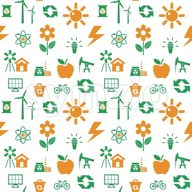 Digital vector orange green ecology icons with drawn simple line art info graphic, seamless pattern, presentation with recycle, production and Stock Vector